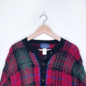 Vintage Woolrich red plaid tartan wool cardigan